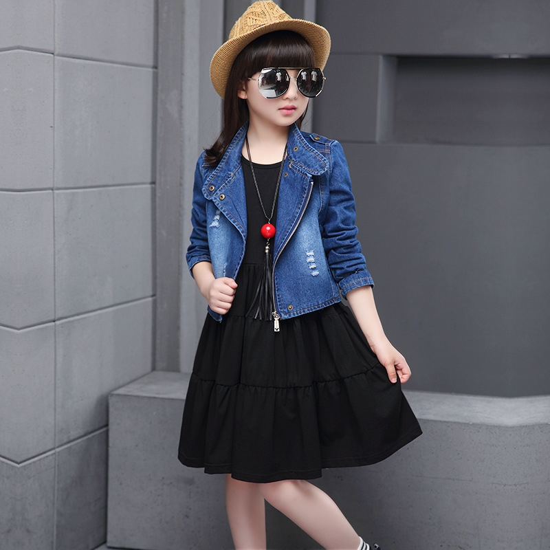 Fashion Girls Clothing 2016 Casual Kids Suit Clothing Sets Spring Autumn Children Outerwear Denim Jacket+Dress 2pcs Kids Clothes цены онлайн