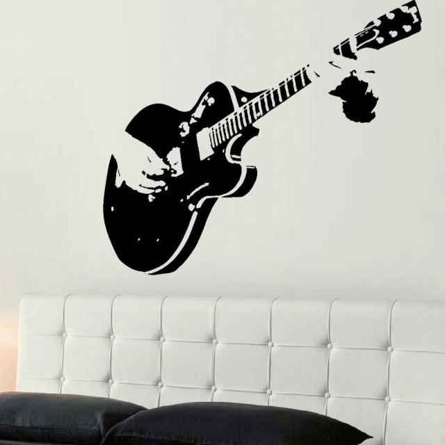 Genial LARGE GUITAR GUITARIST WALL ART DECAL MURAL STICKER STENCIL VINYL CUT  TRANSFER LIVING ROOM HOME DECOR