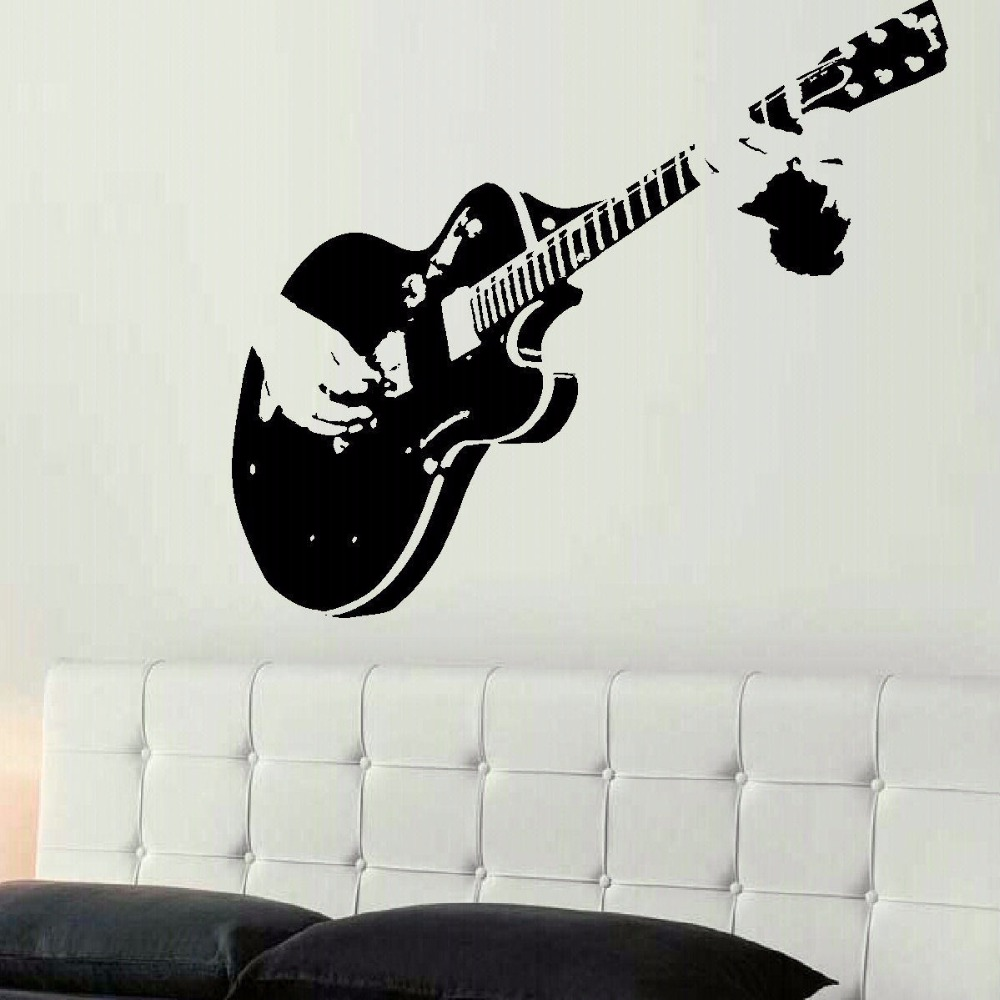 LARGE GUITAR GUITARIST WALL ART DECAL MURAL STICKER STENCIL VINYL CUT TRANSFER LIVING ROOM HOME DECOR