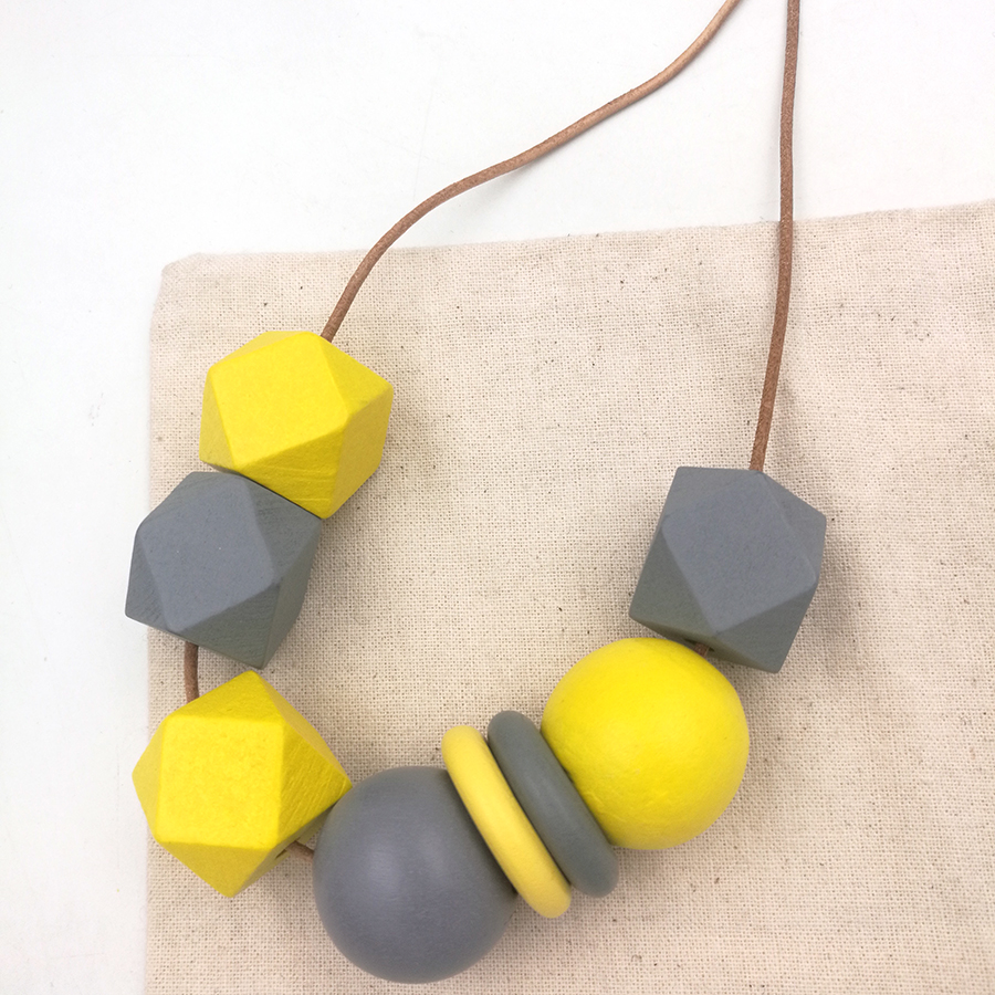 NEWEST wood geometric necklace pandant minimalist statement yellow grey CHIC abstract leather cord NW206