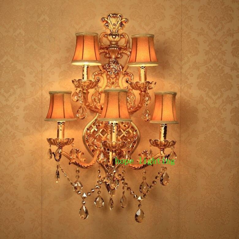 Ванная комната светильники холле отеля бра Гостиная Большой Настенные светильники Ванная комната Vanity свет Кристалл Бра Современный Бра на