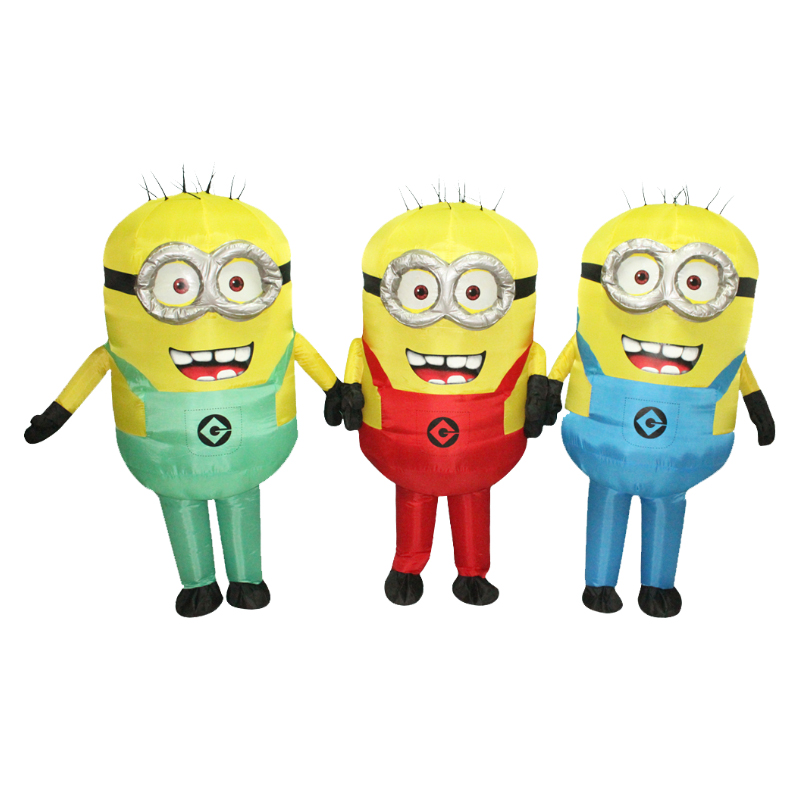 New Minion Inflatable Costume With One Eye or double eyes Halloween Cosplay Party Costume Adult Minion Mascot Costume  Purim