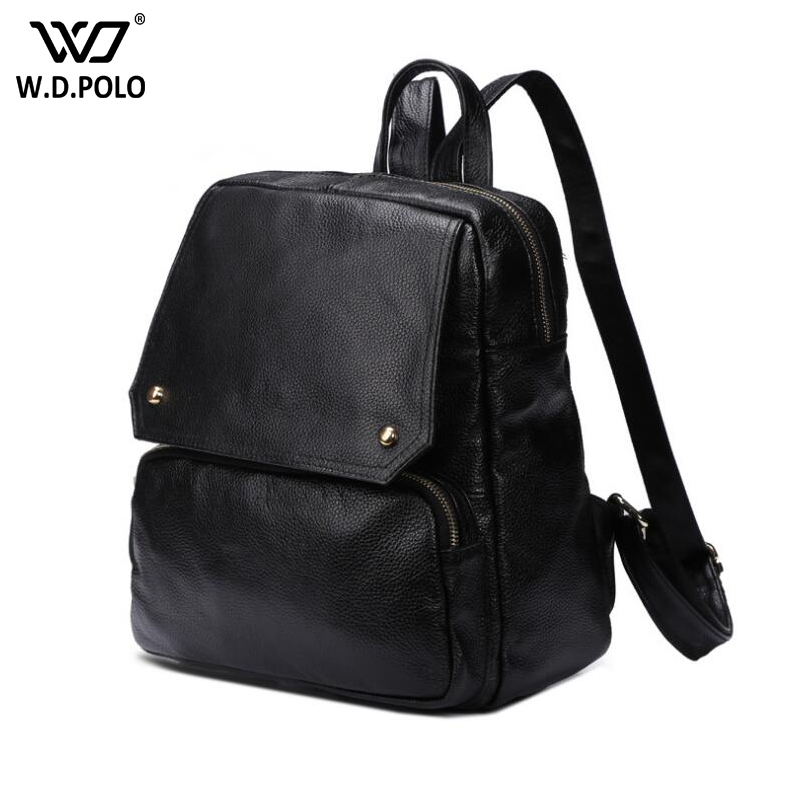 WDPOLO new fashion Women Backpack High Quality real Leather School Bags For Teenagers Girls Top-handle Backpacks book bags C346 aidoudou hot sale rivet women leather backpack fashion school bags for teenagers girls high quality ladies backpacks black