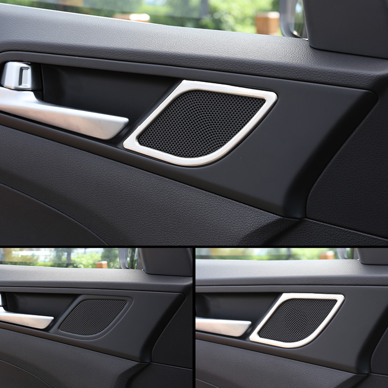 For Hyundai Tucson accessories 2015 2016 2017 2018 New Stainless Steel Front Door Up Speaker Cover Trim Car Styling