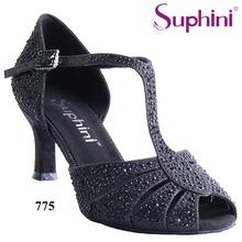 Free Shipping Suphini Safe Stable Dance Shoes Practice Heel Latin Salsa Dance Shoes Glitter Rhinestone Latin Salsa Shoes