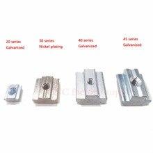 Т Гайка Блок квадратный Гайки оцинкованная пластина Алюминий для ЕС Стандартный 4040 Алюминий профиль Слот для коссель DIY CNC