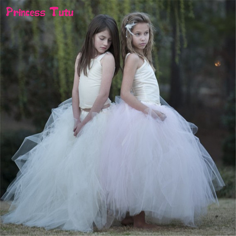цены 2-13Y Formal Twinset Girl Princess Dress Ball Gown Sleeveless Flower Girl Dresses Bridesmaid Performing Wedding Party Tutu Dress