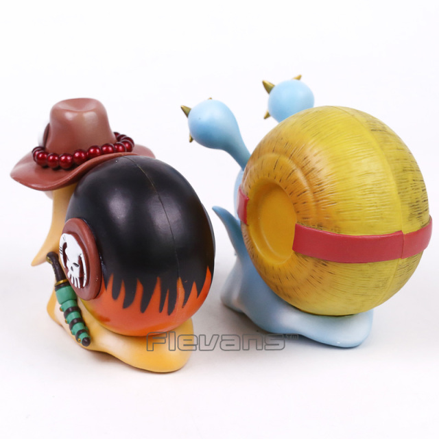 2 Pcs Set One Piece Luffy & Ace Den Den Mushi Telephone PVC Figures Toys