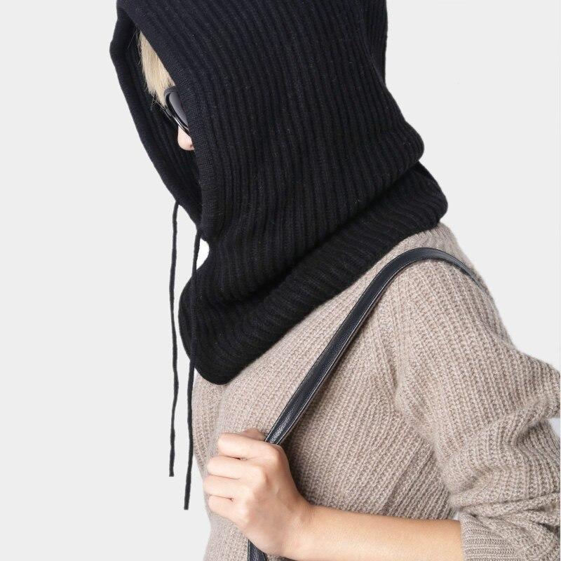 Solide amour marque écharpe col tête épaississement ensemble en automne et hiver et chaud Pure laine tricoté anneau écharpe chapeau double usage