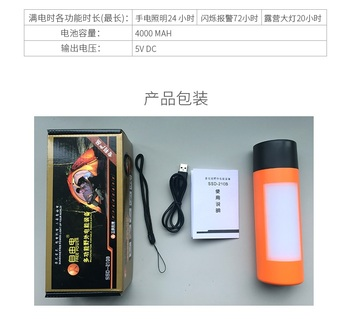 Rechargeable Flashlight With Battery Bank (Both Hand Crank And USB Charging) / Phone Charger USB / Camp Lantern / Red Alarm