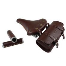 old road bike Retro saddle  Vintage Men fixed gear Bicycle Saddle+bag+handle grip, Seat  Bicycle Cycling  Cushion Leather Seat