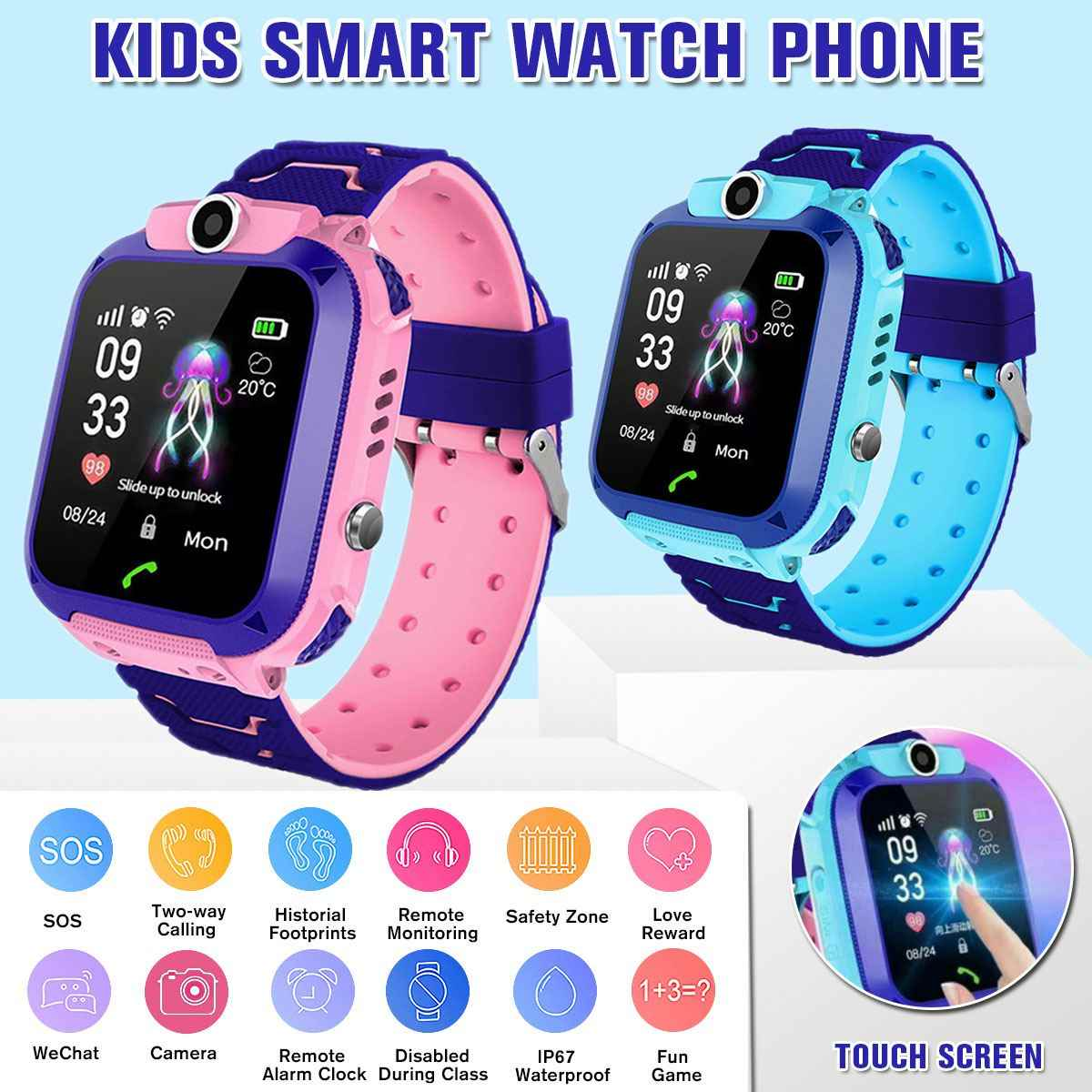 Kids Smart Watch Child GPS Tracker SOS Smart Monitoring Positioning Phone Kids GPS Baby Watch Compatible for Android IOS