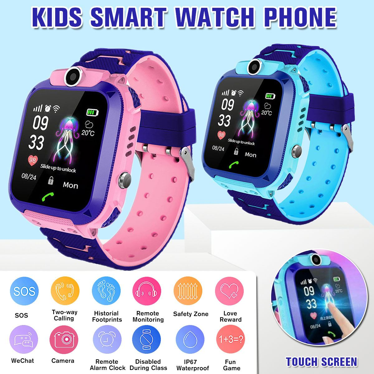 Kids Smart Watch Child GPS Tracker SOS Smart Monitoring Positioning Phone Kids GPS Baby Watch Compatible for Android IOS 农夫 山泉
