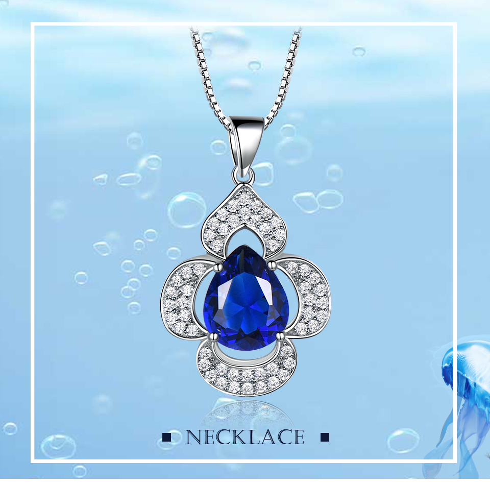 UMCHO-Blue Sapphire 925 sterling silver necklace for women EUJ090S-1 (1)