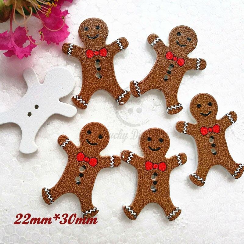 ao nuevo material decorativo unids gingerbread man botones de madera decorativos de navidad botones scrapbook
