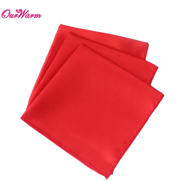 "100Pcs Wedding Table Napkins 12"" Square Pocket Handkerchief Satin Table Dinner Napkins for Wedding Decoration Accessories - Цвет: RED"