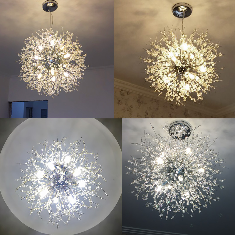 Nordic style simple living room spherical crystal restaurant chandelier creative led art warm bedroom bar lamps LED lighting led nordic modern minimalist living room crystal restaurant chandelier crystal creative led art bar warm bedroom lamps led fixture