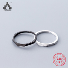 Hot S925 Sterling Silver Fashion Simple Geometric Adjustable Scrub Rings Jewelry for Men Women