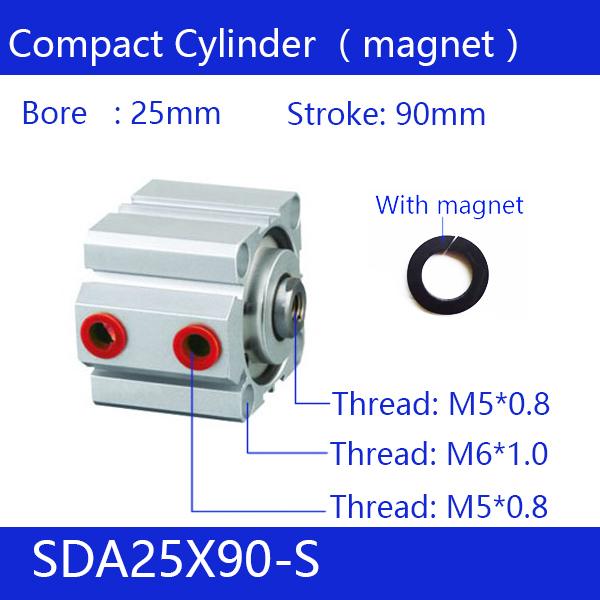 цена на SDA25*90-S Free shipping 25mm Bore 90mm Stroke Compact Air Cylinders SDA25X90-S Dual Action Air Pneumatic Cylinder, Magnet
