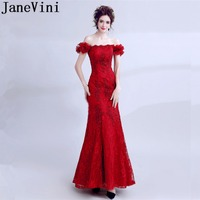 JaneVini Vestidos Red Mermaid Lace Mother Of The Bride Dresses 2018 Floor Length Boat Neck Godmother wedding Party Evening Dress