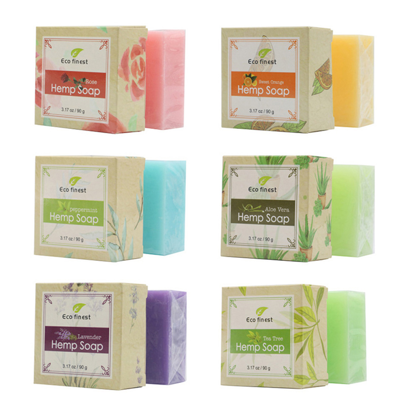 6 Pcs Handmade Hemp Oil Soap Skin Care Revitalizing Scent With Tea Tree Rose Lavender SSwell