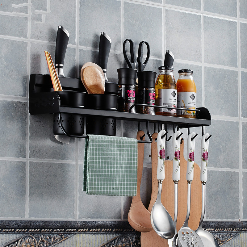 American black kitchen rack 304 stainless steel kitchen pendant seasoning Rack Hanger hardware tool rest LU5183