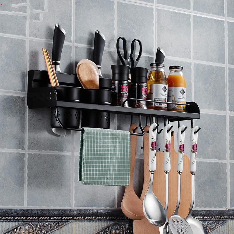 American Black Kitchen Rack 304 Stainless Steel Kitchen Pendant Seasoning Rack Hanger Hardware Tool Rest LU5183