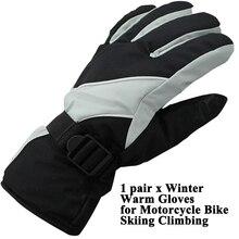 1 pair Full Finger Motorcycle Winter Warm Gloves E-Bike Riding Skiing Men Women Sport Waterproof Anti-wind Anti-slip