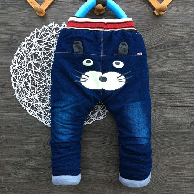 Thick Kids Boys Jeans Cartoon Elastic Waist Trousers Dog Denim Long Pants New Infant Boy Jeans Autumn Winter Toddler Clothing