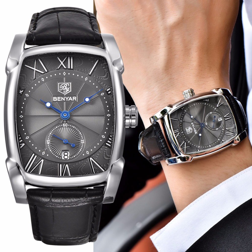 Benyar Square Men Watch Business Waterproof Quartz Leather Wrist Watch Men Clock Male Relogio Masculino hodinky erkek kol saati Mens Bracelet Watch