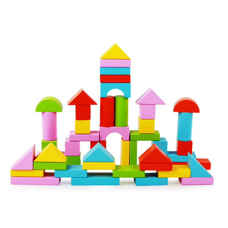 Logwood 50pcs color Wooden building blocks for kids Montessori educational wooden toys gifts for children unisex baby educational wooden toys for children building blocks wood 3 4 5 6 years kids montessori twenty six english letters animal