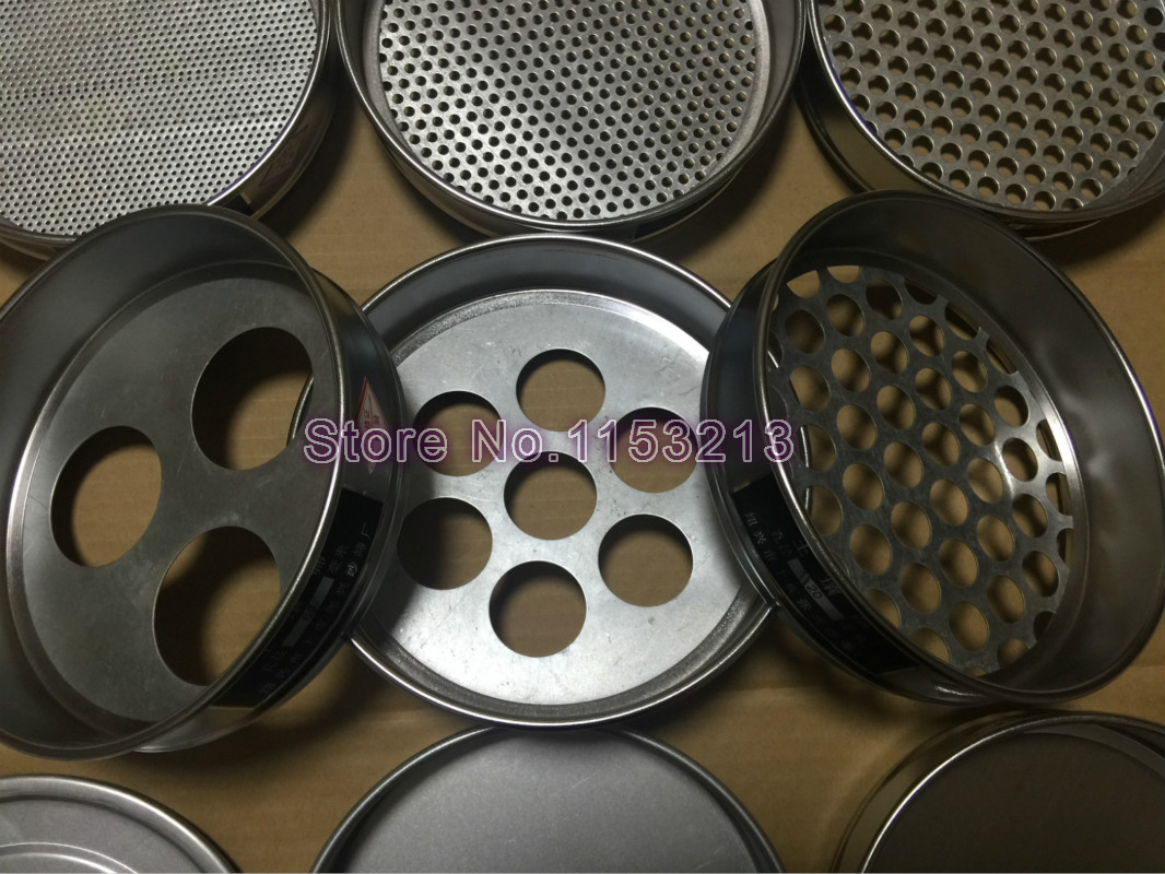 Round Hole Soil Sieve Standard Laboratory Test Sieve R20cm Aperture 0.074-60mm Total 10 pcs With 1 Set Lid And Bottom