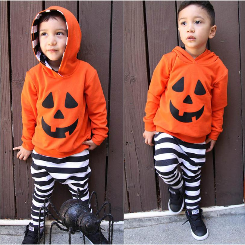 Baby Boy Clothes Beautiful and Fashional  Infant Baby Boy Girls Pumpkin Hooded Blouse +Stripe Pants Halloween Outfits Set #50