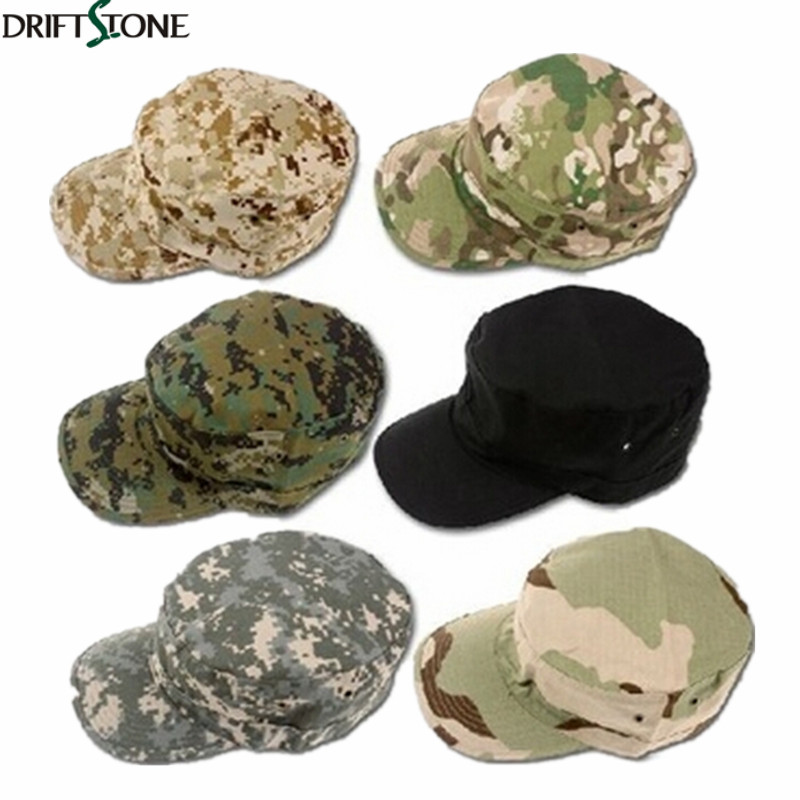 New tactical flat cap men army hats camouflage caps 8 colors men's flat hat free shipping fashion rivets cotton polyester fiber men s flat top hat cap army green