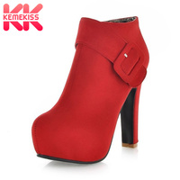 KemeKiss women high heel short ankle boots autumn winter boot platform botas sexy ladies footwear shoes P9204 size 34 39