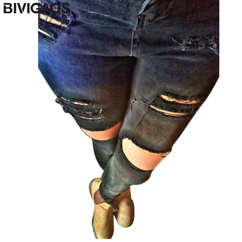 2015 Hot Sale New Fashion Womens Casual Black High Waist Torn Jeans Ripped Hole Knee Skinny Pencil Pants Slim Denim Jeans Women