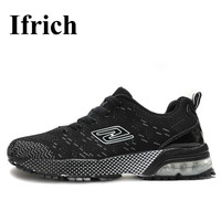 Ifrich Air Men Athletic Shoes Running Shoes Mesh Breathable Sport Sneakers Black Gray Athletic Sneakers Men