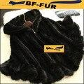 100% Genuine Mink Fur xaile Poncho com capuz mulheres malha Mink Fur Cape inverno Outwear sobretudo jaquetas BF-P0002