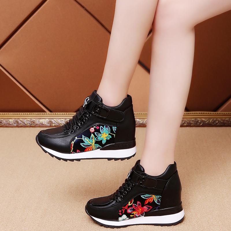 Women Autumn Fashion Casual Wedge Pu Leather Shoes Women 7cm Height Increasing Platform Sneakers