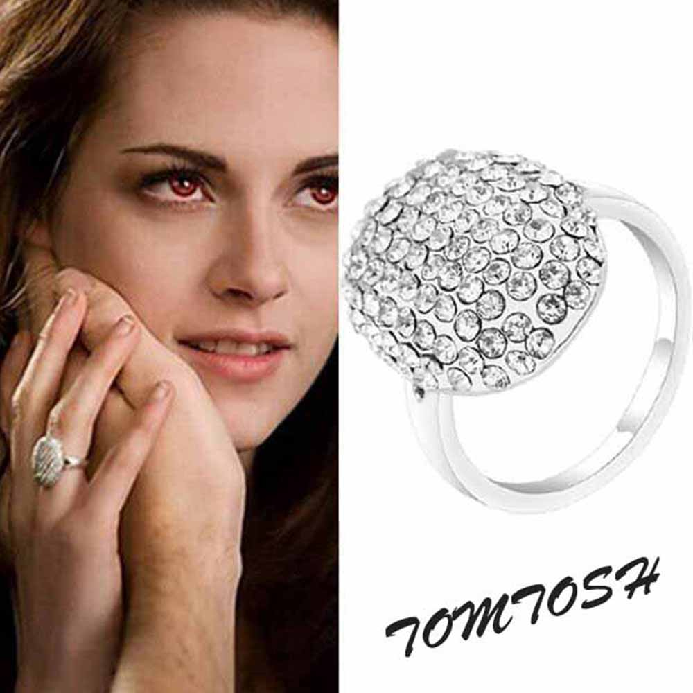 Tomtosh New Popular Film Twilight Bella Engagement Rings With Full Crystal  Fashion Sparkling Silver Rings For