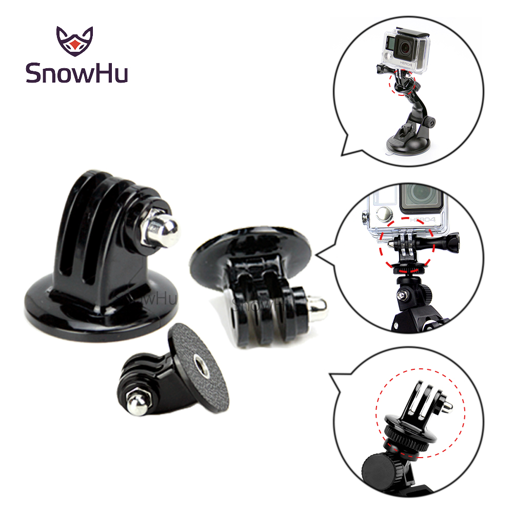 SnowHu for Gopro Tripod Mount Monopod Adapter Accessories for Go pro Hero 5 4 3+ 3 SJ4000 xiaomi yi For EKEN Accessories GP03 miniisw m ac universal curved surface mount kit for gopro hero 4 3 3 hero2 hero sj4000 black