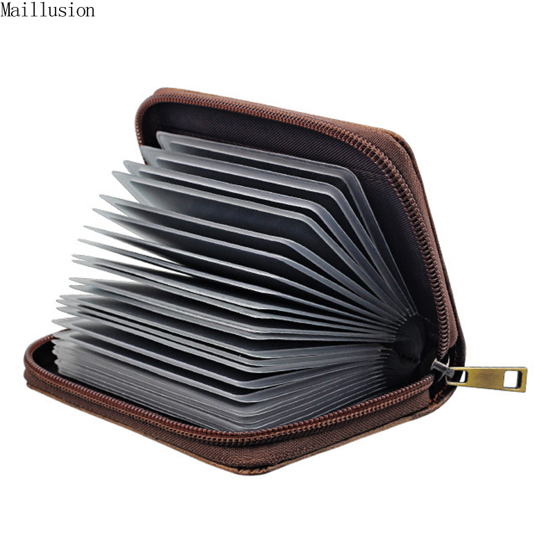 Maillusion Genuine Leather Women Business Card Holder Wallet Bank Credit Card Case ID Holders Men Card Holder Zipper 26 Slots 26 slots genuine leather women men id card holder card wallet purse credit card business card holder protector organizer dc29