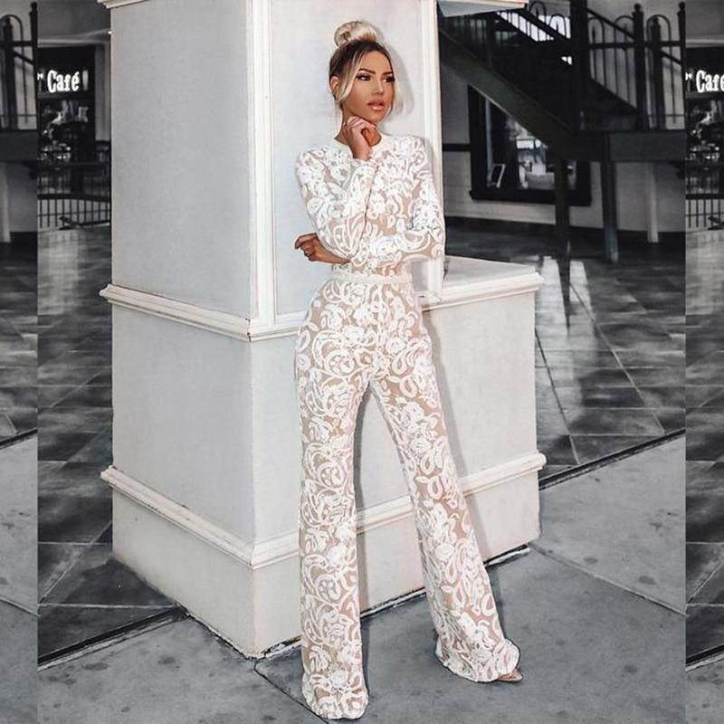 Dentelle combinaison femmes barboteuses 2019 été élégant dames salopette pour femmes large jambe combishort Bandage survêtement Long pantalon