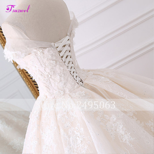 Image 4 - Robe de mariée en dentelle à fleurs, robe de mariée avec Appliques, robe de mariée princesse, col mignon, perles, Train Royal, robe de bal, 2020