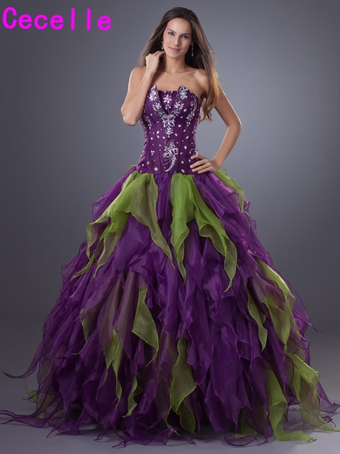 Purple Ball Gown Quinceanera Dresse Strapless Beaded Ruffles ...