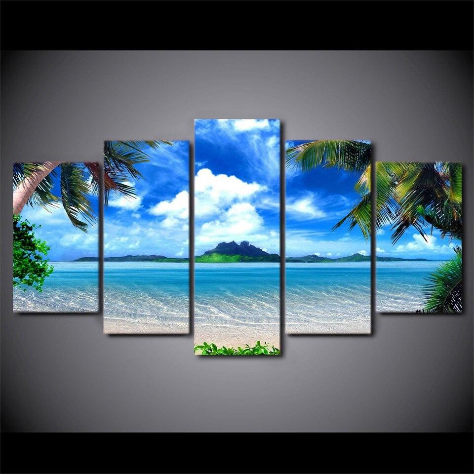 Leinwand Bilder Für Wohnzimmer Wandkunst 5 Stücke Strand blau Palmen ...