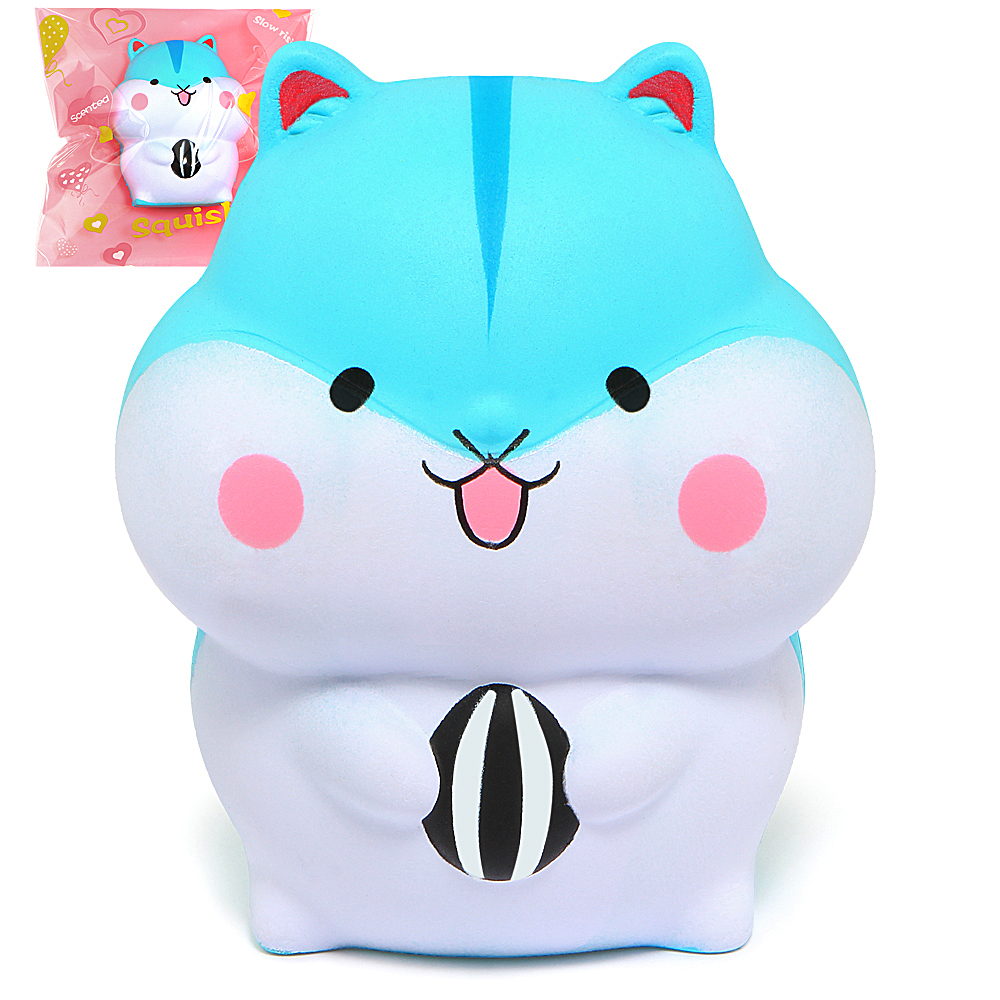 Cute Squishy Hamster Squirrel Super Slow Rising Cream Scented Squeeze Toy Original Package jumbo squishy cute glasses bear scented charm super slow rising squeeze toy