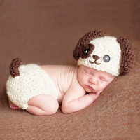 Newborn Baby Boy Girl Dog Hat Crochet Outfits Photography Props Clothes Infant Unisex Baby Animal fotografia Props Accessaries
