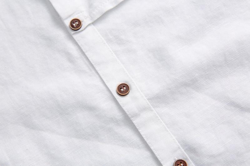 2017 Naturlig langærmet shirt mænd linned hvid stativ krave casual - Herretøj - Foto 4
