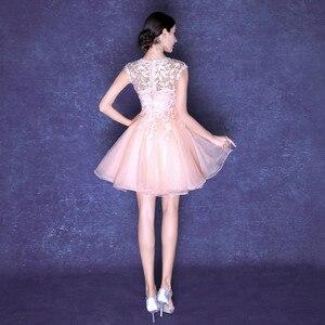 Image 3 - Robe de soiree pink & red elegant U neck evening dress lace with Appliques Formal vestido de festa Party Prom Dresses